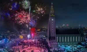 Fireworks over Hallgrimskirkja Church on New Year's Eve, Reykjavik