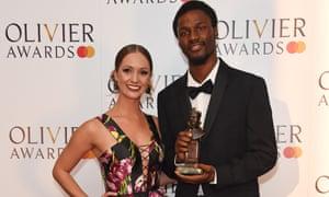 Ashley Shaw with Botis Seva, winner of the best new dance production for Blkdog.