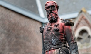 A statue of King Leopold II of Belgium is pictured on June 4 in Antwerp after being set on fire