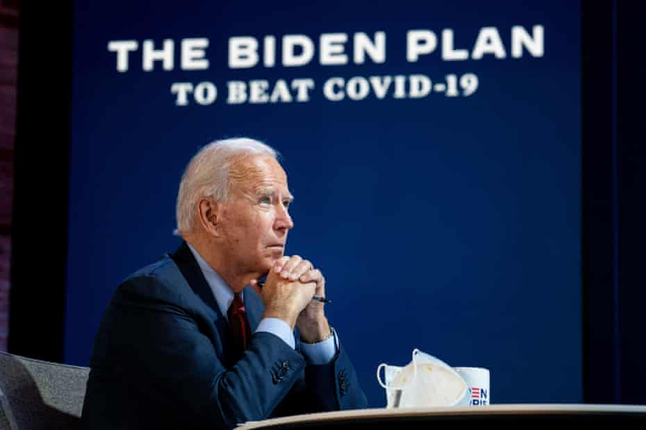 Joe Biden during a briefing about his plan to handle the coronavirus pandemic in Wilmington, Delaware on 28 October 2020.