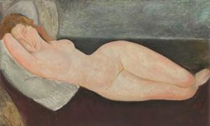 Modigliani's Reclining Nude, Head Resting on Right Arm (1919).