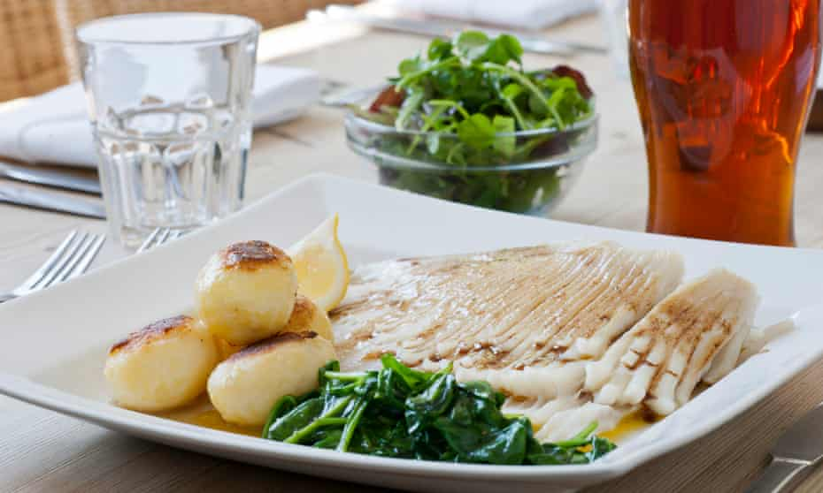 Fresh skate wing with kitchen garden potatoes and spinach, Duke's Head, Fritton