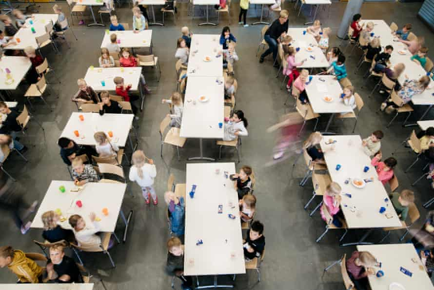 Pupils in the school cafeteria at lunchtime.
