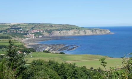 Looking across Robin Hood's Bay from the Cinder Track, North Yorkshire, UK.