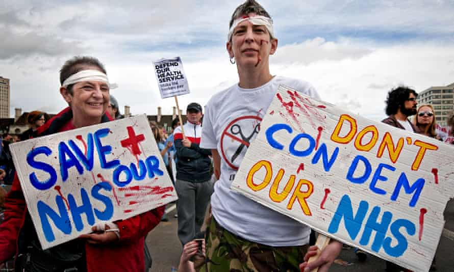 Protesters against proposed NHS reforms eventually passed as the Health and Social Care Act in 2012