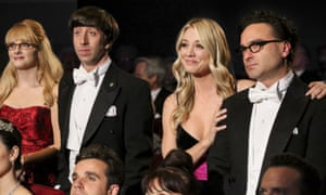 Melissa Rauch, Simon Helberg, Kaley Cuoco and Johnny Galecki in The Big Bang Theory finale.