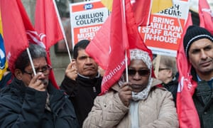 Ex-Carillion staff stage a protest outside the British Museum in London