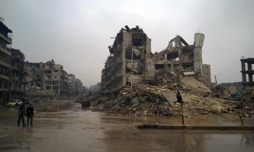 Ruined buildings in east Aleppo
