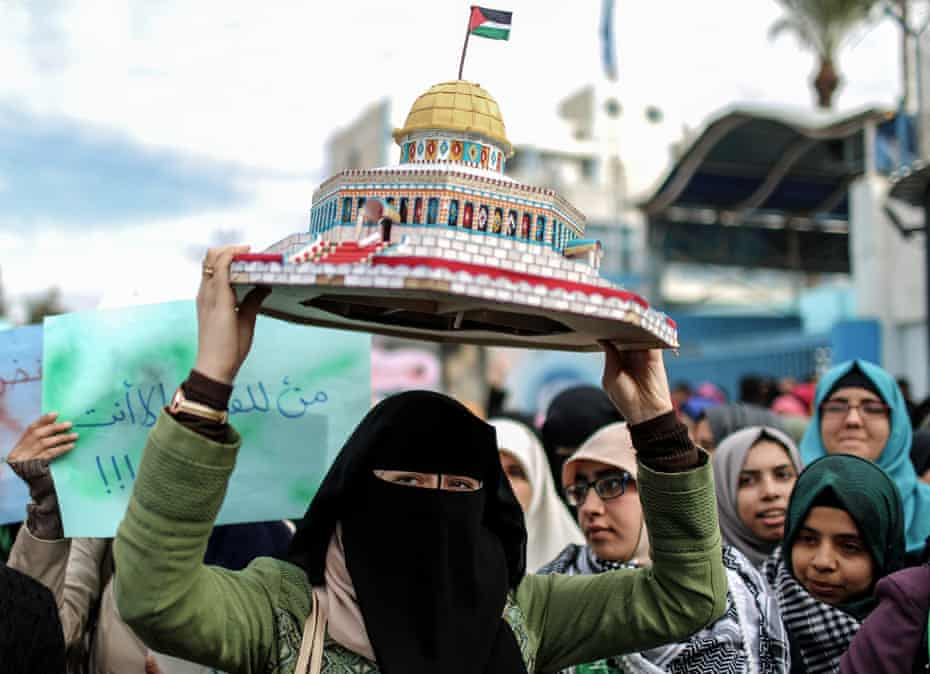 Palestinian students stage a demonstration against Donald Trump's recognition of Jerusalem as Israel's capital.