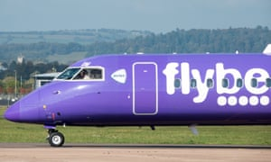 An aircraft operated by Flybe taxis down the runway at Exeter Airport.