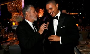 Trevor Noah with his Daily Show predecessor Jon Stewart at the 2015 Emmy awards governors ball.