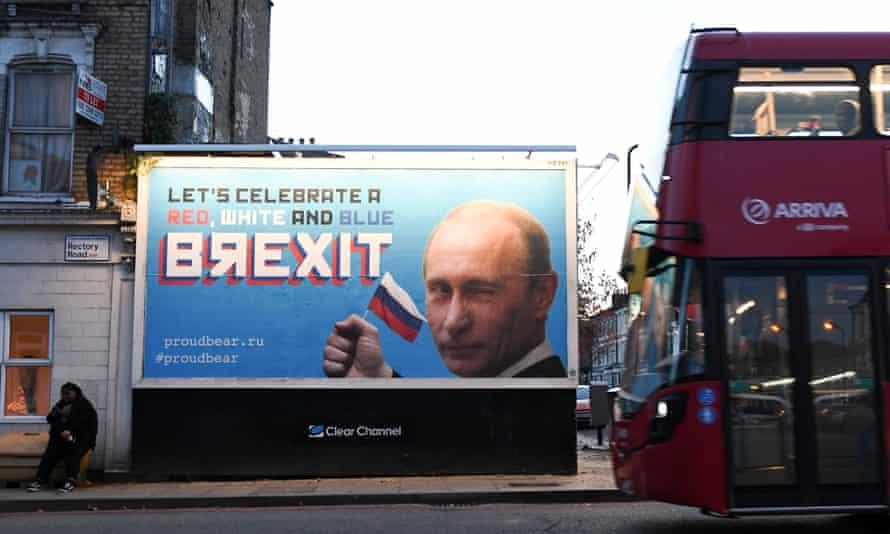 A Brexit-themed billboard in London depicting President Vladimir Putin