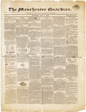 Front page of the first edition of the Manchester Guardian, 5 May 1821