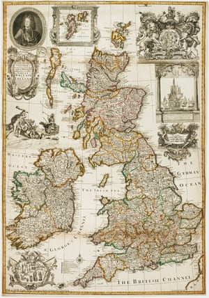 A map celebrating the Hanoverian Ascendency by George Willdey, 1715.A decorated map of the British Isles, dedicated to George I the year after he succeeded Queen Anne as British monarch. George leapfrogged the Catholics barred from the succession, in a move unpopular with those in Parliament who believed in the hereditary rights of the Stuarts. Published the year the Jacobite Rebellion broke out, this map is filled with pro-Hanovian propaganda: a roundel portrait of George, a large and elaborate Royal Crest, and a vignette of Hercules slaying the many-headed hydra of rebellion. £5,500