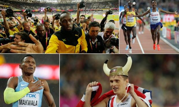 Usain Bolt bids farewell; Mo Farah wins the men's 10,000m final; Norway's Karsten Warholm celebrates after winning the men's 400m hurdles final; Botswana's Isaac Makwala reacts after finally reaching the 200m final.