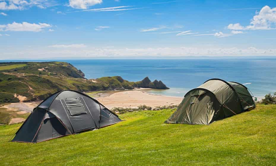 Three Cliffs Bay campsite on the Gower peninsula