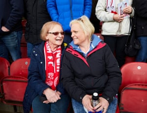 Mother and daughter Linda Richardson and Claire Cartwright at half-time