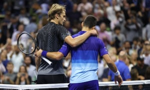 Alexander Zverev and Novak Djokovic show their mutual respect after a match of more than three and a half hours.