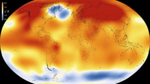 Nasa map of temperature anomalies in 2015 compared to the long-term average.