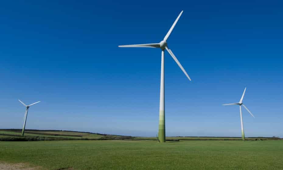 A windfarm in Cornwall, south-west England.