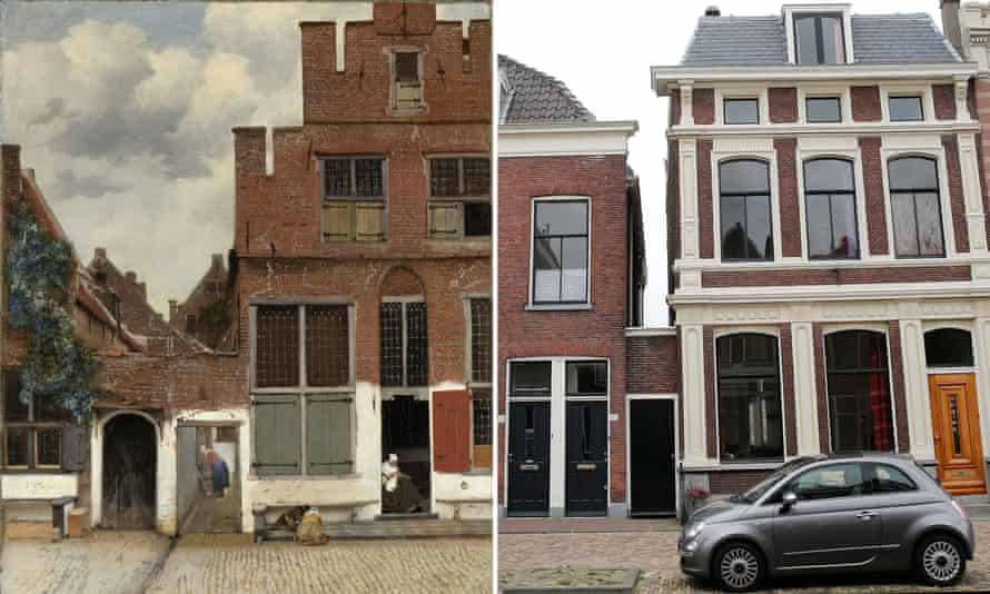 The Little Street by Vermeer and the modern day house in Delft
