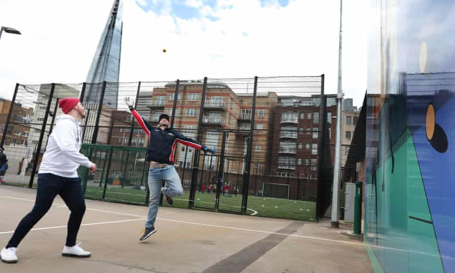Dan Grant and Dan Thackeray (red hat) playing wallball 07-04-2021 Photograph by Martin Godwin