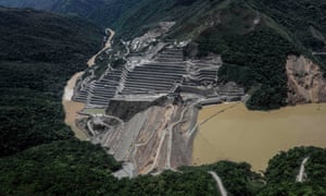 The dam of the Hydroituango Hydroelctric Project, on the Cauca river, near Ituango municipality in Colombia on 12 May 2018.