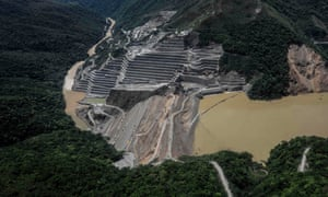 The dam of the Hidroituango Hydroelctric Project, on the river Cauca, near Ituango municipality in Colombia on 12 May.