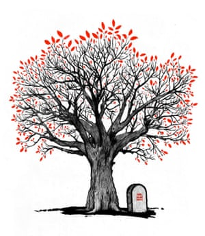 Illustration by David Foldvari of a tree growing over a headstone.