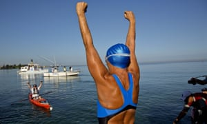 Diana Nyad greets her support team before her swim to Florida from Havana, Cuba in 2013.