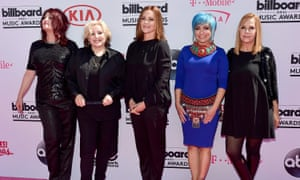 Abby Travis, Gina Schock, Belinda Carlisle, Jane Wiedlin, and Charlotte Caffey of music group The Go-Go's
