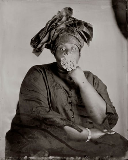 One of a series of photographs by Khadija Saye that are on show at the Diaspora pavilion during the 57th Venice Biennale