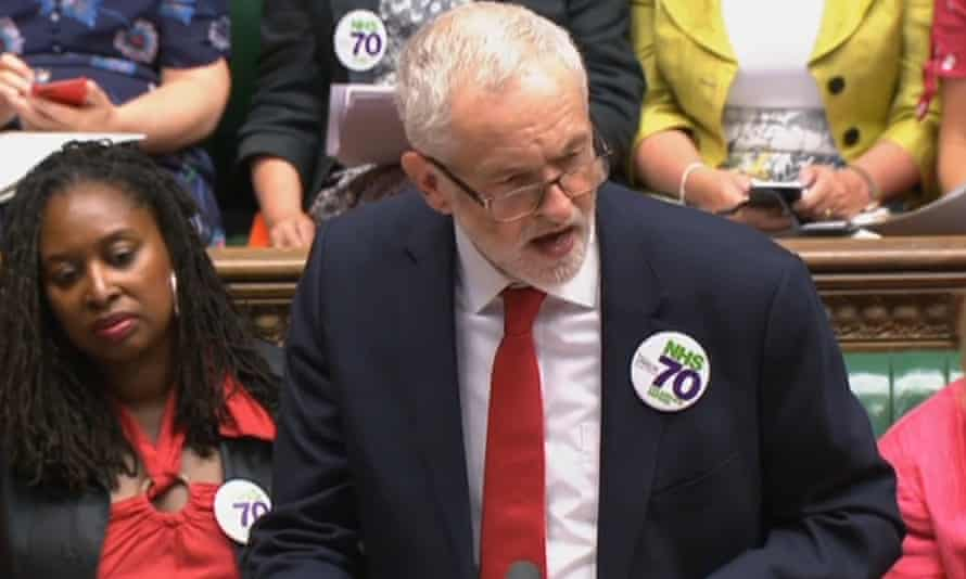 Jeremy Corbyn speaks during PMQs in the Commons