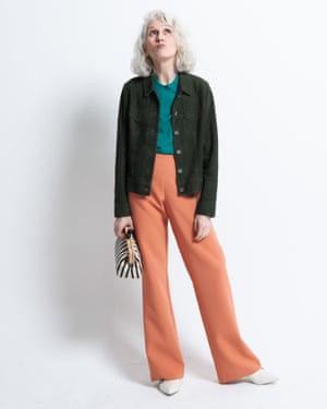 Sylviane wears polo shirt, £49, cosstores.com. Suede jacket, £290, jigsaw-online.com. Trousers, £200, essentiel-antwerp.com. Boots, £199, kurtgeiger.com. Bag, £29.99, zara.com