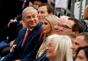 Benjamin Netanyahu (L), Jared Kushner (C-R), Ivanka Trump (3rd R), Steve Mnuchin (R) and Israel's President Reuven Rivlin (2nd R) attend the opening of the US embassy in Jerusalem