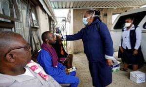 Door-to-door testing in an attempt to contain the coronavirus outbreak, in Umlazi township near Durban, South Africa.