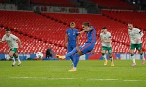Dominic Calvert-Lewin scores England's third goal.
