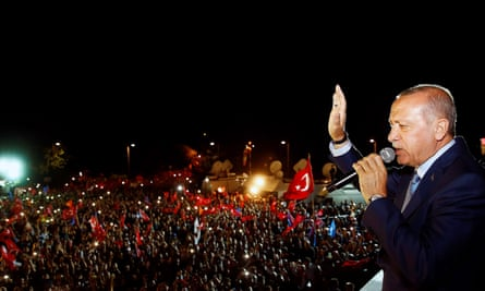 Recep Tayyip Erdoğan following the unofficial results of the presidential and parliamentary elections in Istanbul on Sunday
