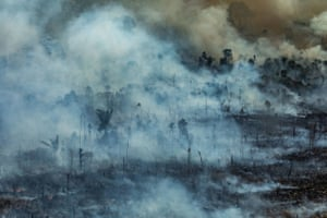 Smoke rises from the fire in Novo Progresso in the state of Pará.