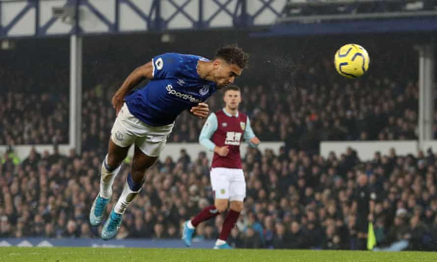 Everton's Dominic Calvert-Lewin meets Djibril Sidibé's cross and heads in the winner against Burnley.