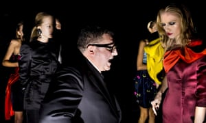 Alber Elbaz at the Lanvin show during Paris fashion week in 2008