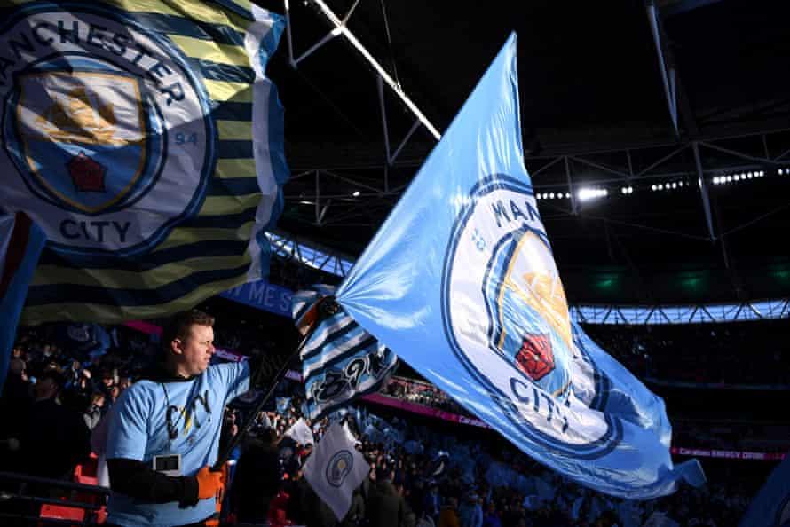 Manchester City fans at the 2020 Carabao Cup final against Aston Villa at Wembley.