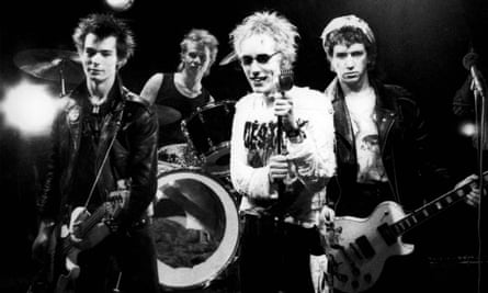 Sid Vicious, left, and the Sex Pistols in 1977 on the set of the Pretty Vacant video shoot