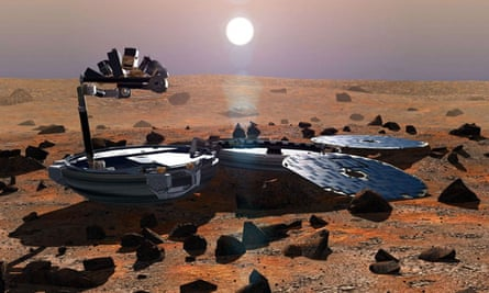 An artist's impression of the Beagle 2 lander, which landed on Mars in 2003 but failed to fully unfurl its solar panels, causing it to lose contact with Earth.