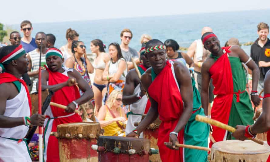 'We are stars, but being stars cannot take us out of Dzaleka': Amahoro Drummers perform their Burundian music at Chintheche Inn.