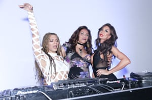 Bergdof, left, DJing with Lina Bradford, Munroe Bergdorf, Yasmine Petty in New York last November