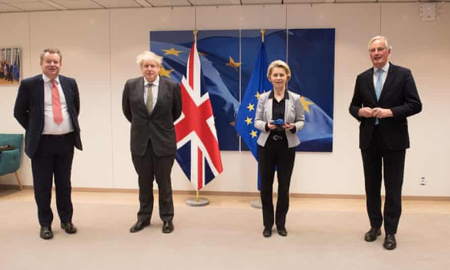 David Frost, Boris Johnson, Ursula von der Leyen and Michel Barnier
