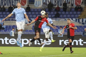 Rennes' Jeremy Morel, second left, opens the scoring against Lazio.