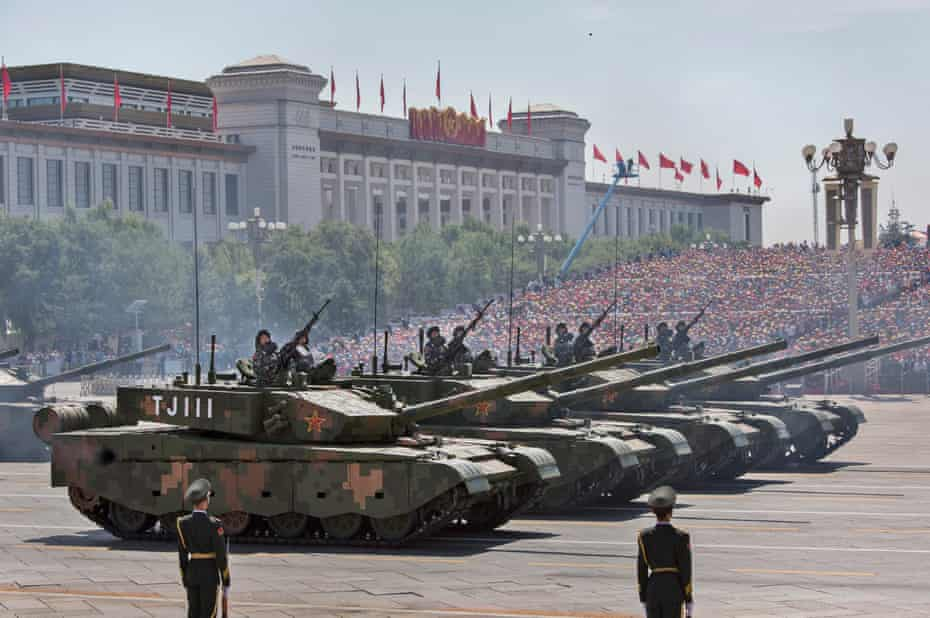 A military parade passes in front of Tiananmen Square, Beijing, China, in 2015.