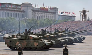 The Chinese military on parade in Tiananmen Square